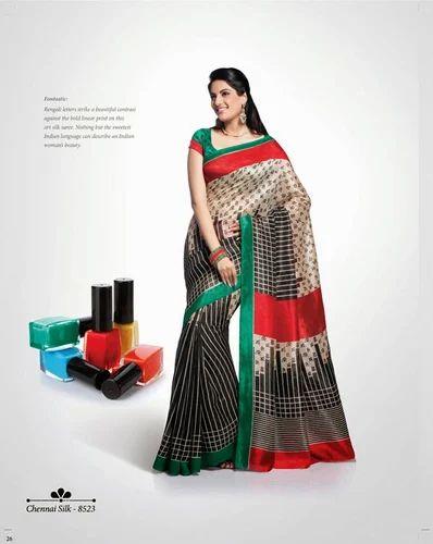 Stylish Pattern Printed Silk Designer Sarees