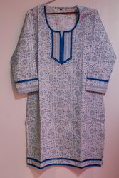 Regular Casual Wear Bagru Pigment Print Kurtis