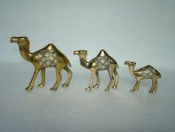 Brass MOP Camel Statue Set Of 3
