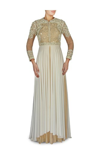 e95fac480c White And Beige Layered Gown | Zarilane Woven By CTC Mall | Retailer ...