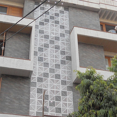 Front Elevation Tiles Designs : Exterior jaali acp front elevation manufacturer from new
