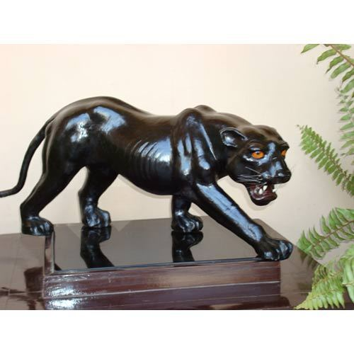Leather Animal Black Panther Statue Zoological Art Gallery Indore
