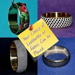 Imitation Fashion Jewellery - Leatherette Brass Bangles Cuff