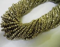 Silver Brown Pyrite Gemstone Faceted Rondelle Beads Strands