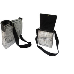 BI white with news paper print Leather Hand Bag Model 3470, Pure Leather(Y/N): Yes