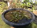 Round Frp Stone Carved Fiberglass Pot, Size: 55