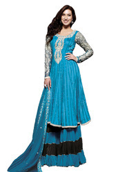 Blue Embroidered Georgette Sharara