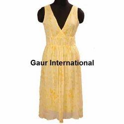 Womens Block Printed Chiffon Dress
