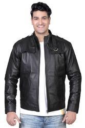 Mens Classic Leather Jacket in Black-Mboss