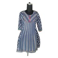 Cotton Round Neck Fancy Printed Kurti