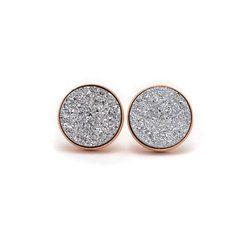 Silver Druzy Bezel Set Earring Stud