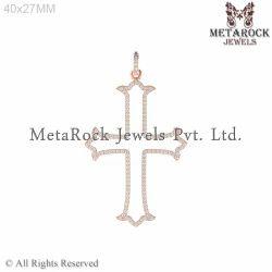 Pave Setting White Diamond Crescent Cross Sign Pendant