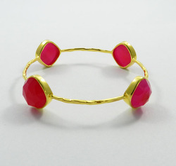 Fushia Pink Chalcedony Silver Bracelet
