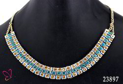 ChicKraft Blue and Silver Rhinestone Layered Metal Acrylic Stone Thread Multi Color Strand Necklace