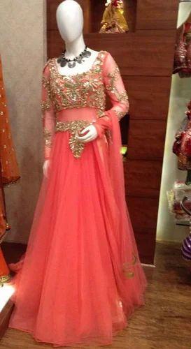 909ca72dc9 Peach Full Length Gown, Latest Designer Gowns | Raja Park, Jaipur ...