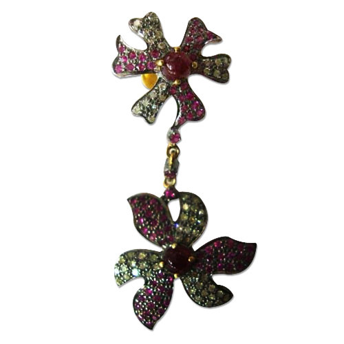 The mask Jewellery Floral Ruby Earrings Studded with Diamond