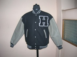 Black Grey Letterman Jacket