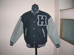 Black Grey Letterman Jacket