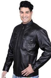 Mens Trendy Leatherette Jacket in Black-Mboss