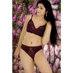 Wine Color Netted Bra Set