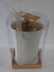Ceramic With Gold Lid Candle