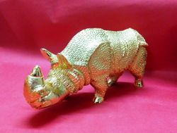 Gold Plating Rhino Sculpture