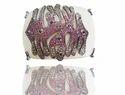 Women Party Ruby And Diamond Studded Bakelite Cuff