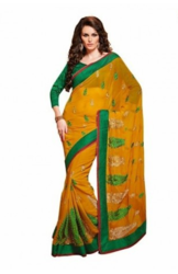 Casual Wear Yellow Colored Chiffon Saree