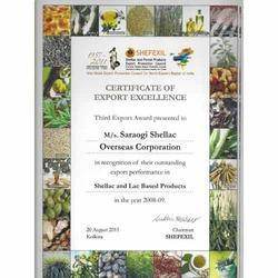 Export Excellence Certificate in 2008-09