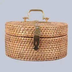 Round Cane Lidded Box