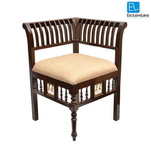 Superieur Exclusive Lane Teak Wood L Shaped Chair With Dhokra Work
