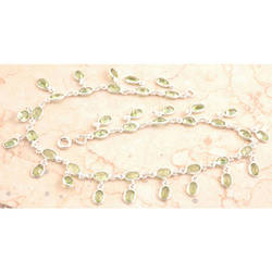 Jolly Peridot Anklet In 925 Sterling Silver