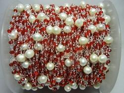 Garnet Quartz with Pearl Bead Gemstone Rosary Chain
