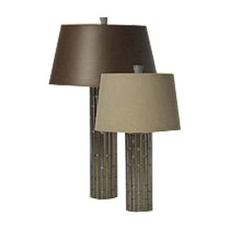 Antique Pewter Bamboo Lamp