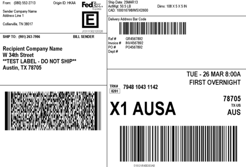 Intrepid image with printable fedex shipping labels