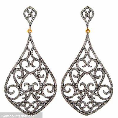 631b118bf64ee Designer Look Rose Cut Diamond Hoop Earrings - Nikhil Jewellers ...