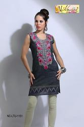 Pretty Printed Embroidery Designer Tunic Top  Kurti