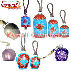 Blue Hand Painted Cow Bells - Custom Designs Many Sizes