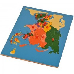 wood wooden board Asia Map Puzzle, Play School