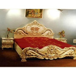 Heavily Hand Carved King Size Bed