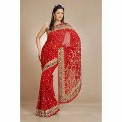 Red Georgette Wedding Sarees