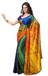 peacock feather digital printed crepe jacquard saree