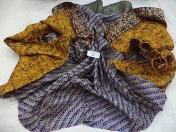 Pure Silk Kantha Work Reversible Vintage Shawl