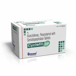 Cyclofit Aceclofenac 100mg Paracetamol 325mg Serratiopeptidase 10mg Tablets