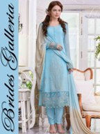 6c70aa197c Sky Blue Faux Georgette Punjabi Suit - Brides Galleria, New Delhi ...