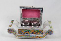 White Metal Meena Tray