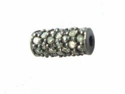 Pave Diamond Cylindrical Bead