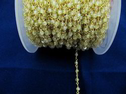 Yellow CZ Rosary Beaded Chain