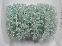 Apatite Gemstone Sterling Silver Beaded Cluster Chain
