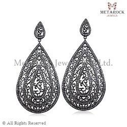 Sterling Silver Diamond Filigree Earring